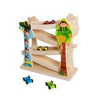 Baby Learning Educational Toys Kids Wooden Ladder Gliding Race Trace Toys Wooden Slot Track Car Glider Toys Christmas Gift