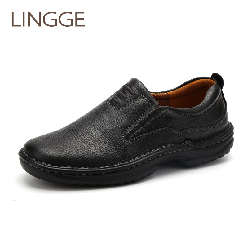 LINGE Brand men's shoes classical genuine leather shoes black leisure men shoe high quality Non-slip casual Loafers shoe top brand high quality genuine leather casual men shoes cow suede comfortable loafers soft breathable shoes men flats warm
