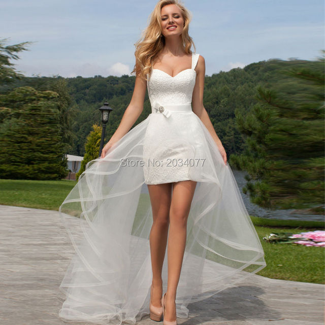 Summer 2017 Detachable Skirt And Sleeves Wedding Dress Short Front Long Back Lace Organza Bridal Gown