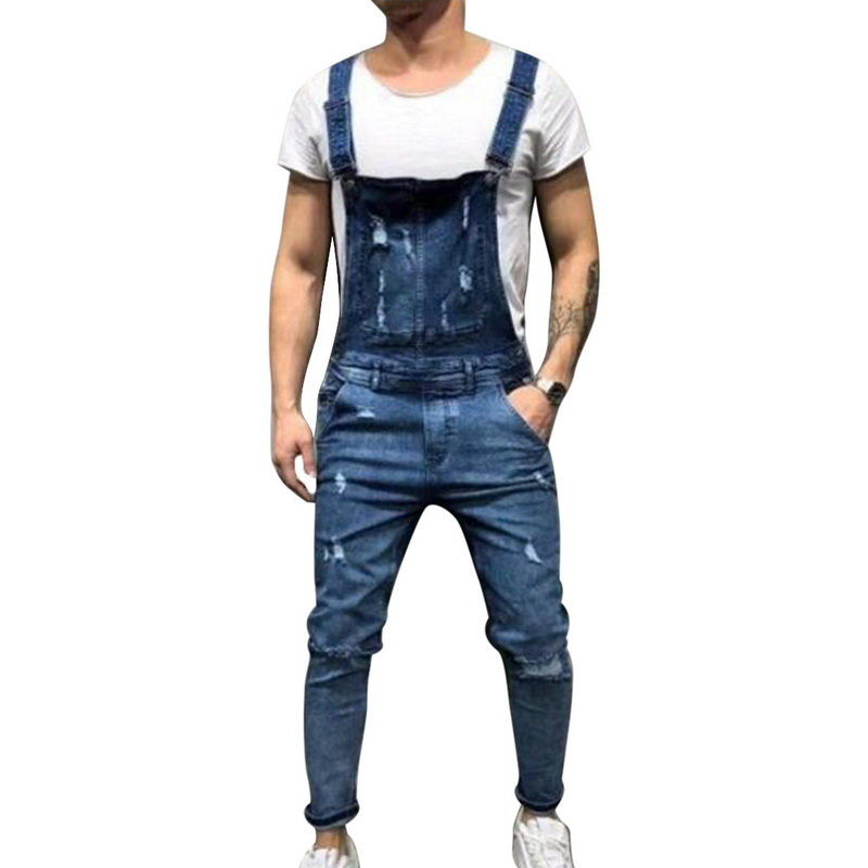2019 Sping Men's Denim Bib Overalls Adjustable Straps Fashion Ripped Jeans Slim Jumpsuit with Hole Plus Size 2XL