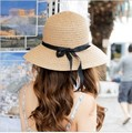 HOT Style freeshipping adult women girls fashion sun hat solid color plain design lovely bow summer beach hat red beige