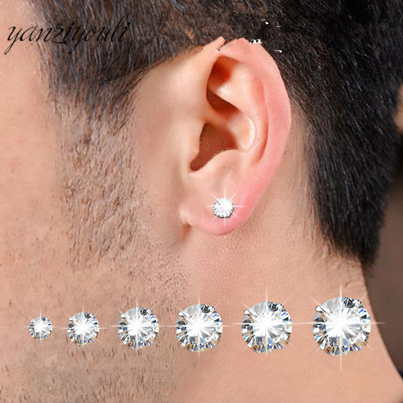 1 Pair Classic Stainless Stee Stud <font><b>Earrings</b></font> <font><b>For</b></font> Women CZ Zircon Ear Piercing Surgical Steel Ear Jewelry <font><b>for</b></font> <font><b>Men</b></font> Boys Women Girls image