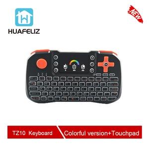 TZ10 Teclado Sem Fio Mouse Touchpad 2.4 GHz Handheld Controle Remoto w/luz de Fundo Colorido Para Android TV Box Smart TV PC Laptop