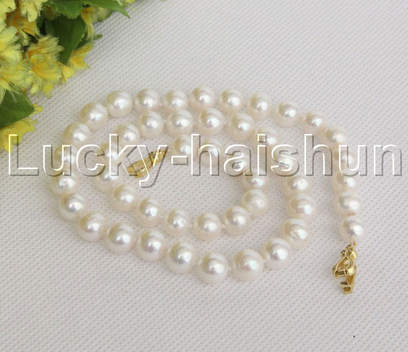 natural 17 10mm round white freshwater pearls necklace clasp j12147natural 17 10mm round white freshwater pearls necklace clasp j12147