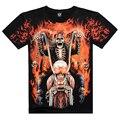 2016 Новый Мужская с коротким рукавом 3D майка Человек Хлопок O вырезом Череп Harley печати Ghost Rider Европа Размер Лето ти, JA141