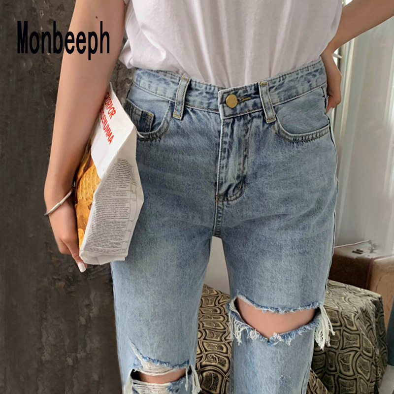 Monbeeph Distressed Pants Jeans Women Blue Ripped Denim Casual Summer New Hole Spring-Hole-Ankle-Length