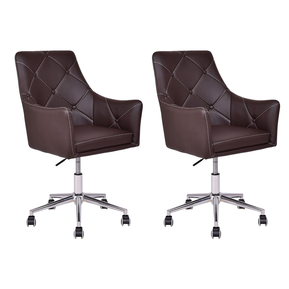 Giantex 2pcs Home Office Task Chair PU Leather Swivel Adjustable Tufted Modern Leisure Chair Back Rolling Furniture HW54933 мышь oklick 745 g legacy black usb
