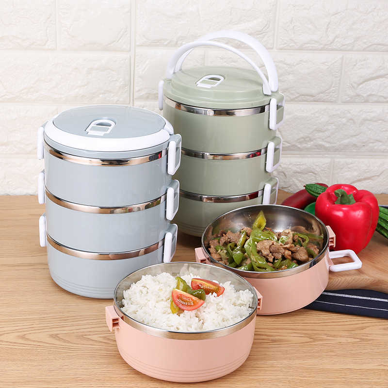 for Food Bento Container Box Gradient Color Japanese Lunch Box Thermal Stainless Steel LunchBox for Kids Portable Picnic School