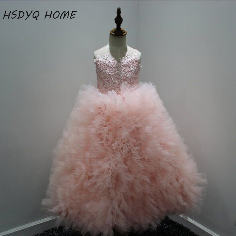 HSDYQ HOME 2016   Flower     girl     dresses   Tulle Lace Long Tutu Mermaid Fashion Family Pink Mother Daughter   Dresses
