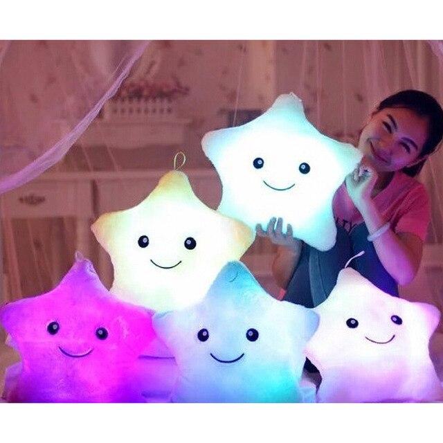 Estrella LED Luminoso Almohada Rellena Suave de la Historieta de Peluche de Juguete Almohada para la muchacha Regalo de la Estrella Sonrisa Led de Colores de Luz