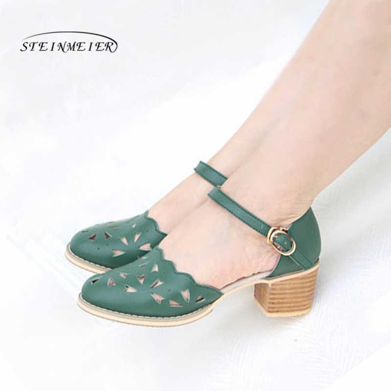 Kadın sandalet oxford ayakkabı vintage hakiki deri yüksek topuklu gladyatör oxfords yaz platform sandaletler için kadın terlik 2019