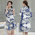 2017 Spring Women Full Sleeve Loose Flower Slim Shirts Girl Long Turn-down Collar Blouses