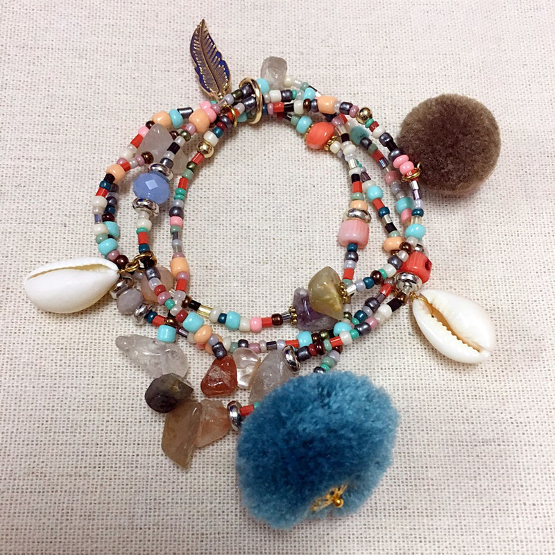 Dongmu Jewllery New 2017 Hand-made Crystal Bracelet Bead Bracelets Charm Bracelets Shell Stretch Combination For Women