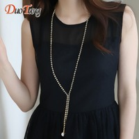DuoTang Trendy Long Rhinestone Beaded Chain Tassel Pendant Necklace Elegant Women Office Lady Imitation Pearl Jewelry
