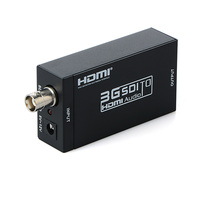 3G 1080P High Definition BNC SDI to HDMI Adapter Video Audio Converter With Power Adapter for Driving HDMI Monitors Black
