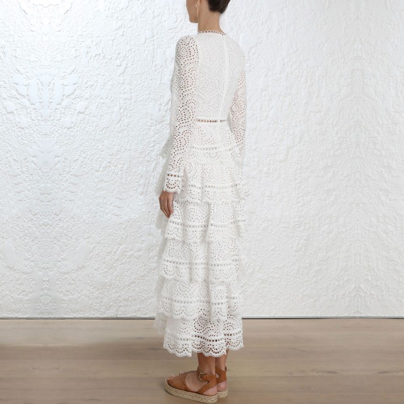 Luxury Brand 2018 Autumn New Arrival Woman Dress Hollow Out High Waist Deep V-Neck Sexy Elegant White Woman Dress Party Vestidos