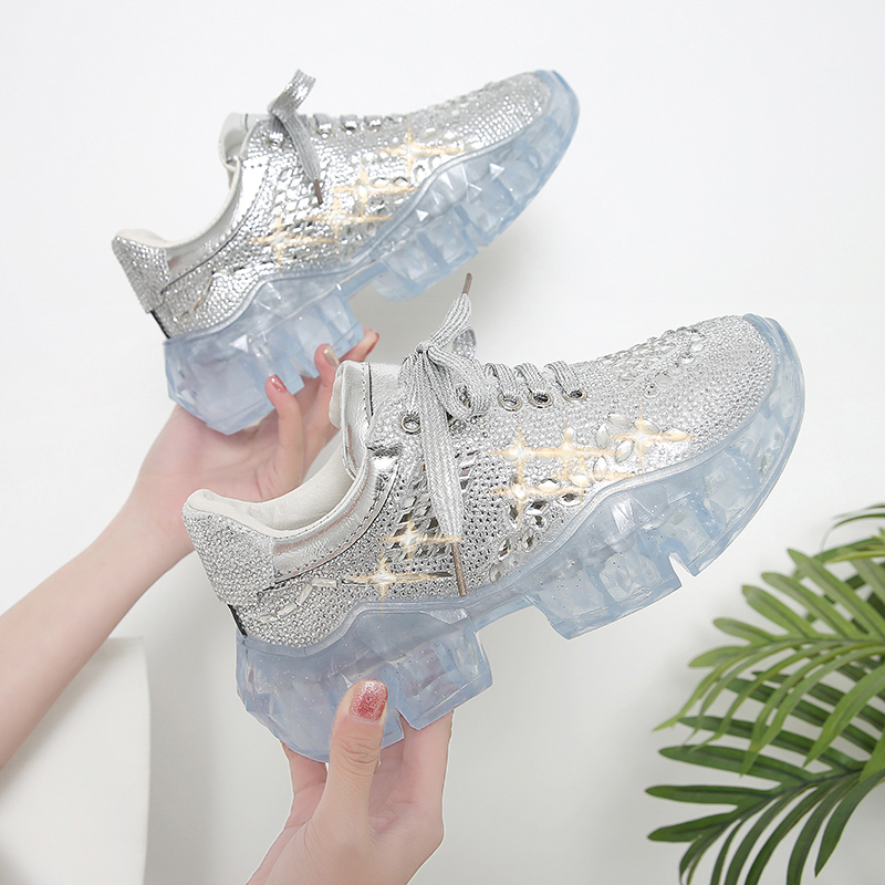 ERNESTNM Summer 2019 Casual Bling Shoes Silver Sneaker Women Crystal Platform Chunky Sneakers Femme Rhinestone Zapato De Mujer