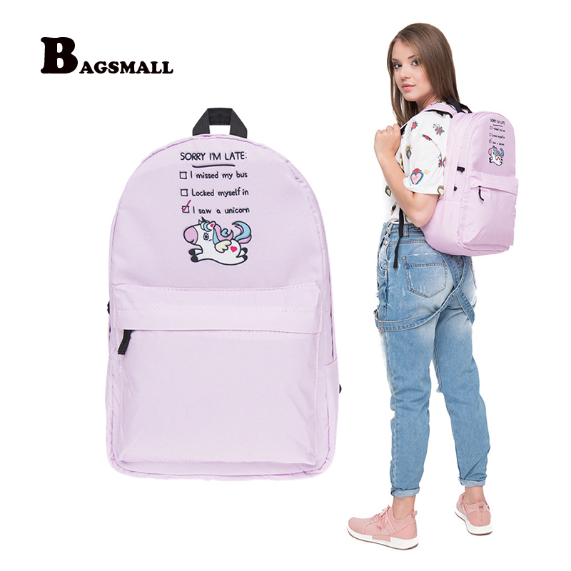 BAGSMALL Women Travel Backpacks for Girls Teenager School Bag Unicorn Backpack Female Preppy Printed Backpacks Pink Schoolbag 2pcs set preppy style canvas backpack women letter printing backpacks school bags for teenager girls schoolbag female travel bag