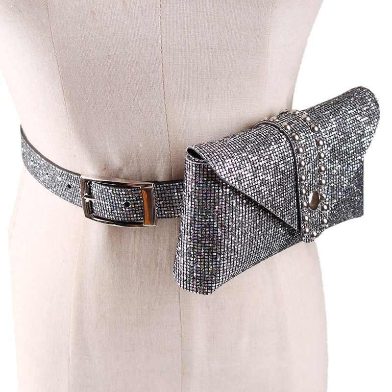 AUAU-Novas Mulheres Primavera E Verão Moda Casual Bolsos Lantejoulas Fivela de Metal Do Telefone Móvel Destacável Cinto