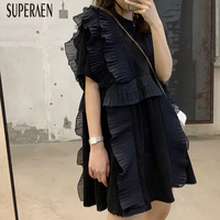 SuperAen Ruffled T Shirt Women Cotton Wild Casual Fashion Short sleeved T shirt Female 2019 New Summer Women Clothing