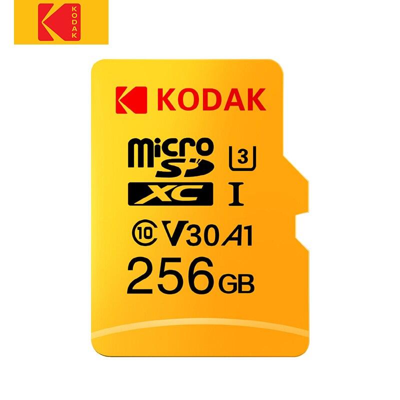 Original Kodak U3 A1 V30 Class 10 MicroSDXC/SDHC Memory TF Flash Card 256GB 128GB 64GB 32GB for Video and Mobile Storage