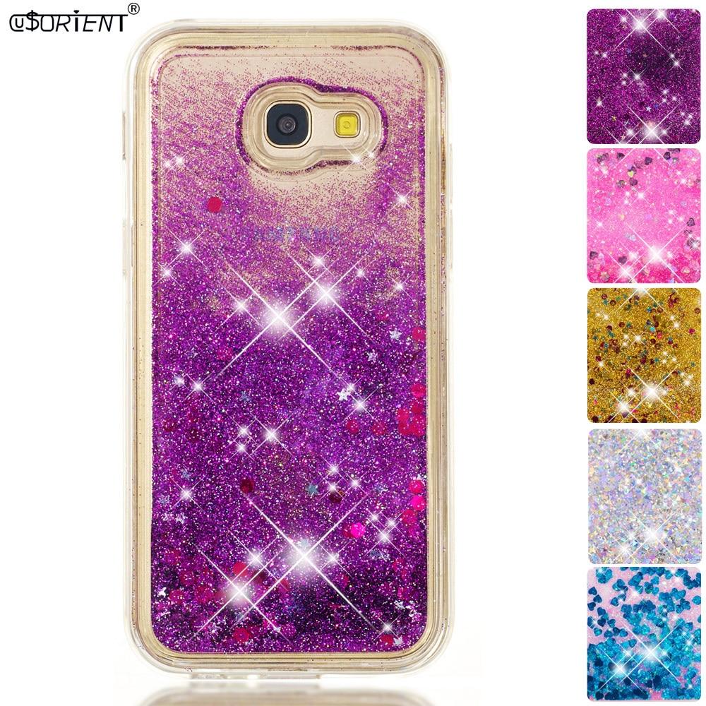 Glitter Liquid Case For Samsung Galaxy A5 2017 A57 Bling Dynamic Quicksand Phone Cover Sm-a520f Sm-a520f/ds Sm-a520x Back Funda Phone Bags & Cases