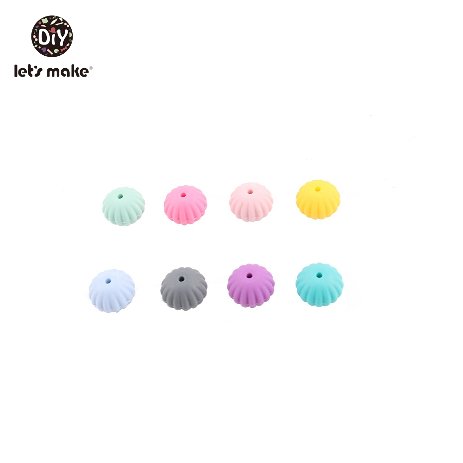 Let's Make 10Pcs Silicone Beads Teething Food Grade Hot Sale Diy Gifts Silicone Round Baby Bracelet BPA Free Baby Teethers