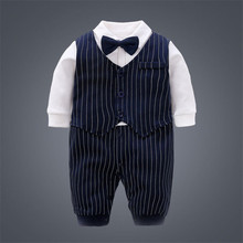 Gentleman One-Piece Jumpsuits Buttons-Up 100% Cotton Long-Sleeves Cute Absorbent Breathable Coveralls 3-18 Months
