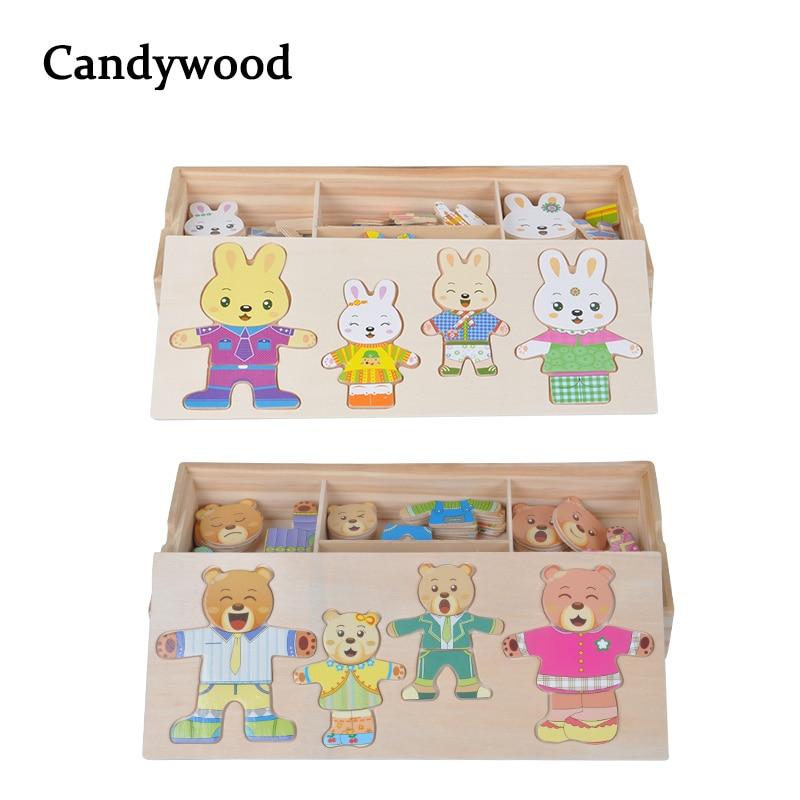Kartun Kelinci beruang Mengubah Pakaian Gaun Teka-teki Mainan Pendidikan Montessori Mengubah Jigsaw Puzzle mainan Kayu untuk anak-anak hadiah