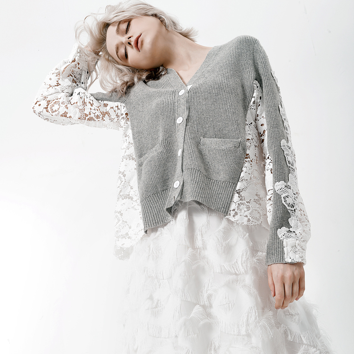 Tricoté À Chandail Femmes Creux Dentelle Mode 2019 Retour Manches Cardigan Patchwork Sexy Longues Gris Nouvelle Printemps wzHWqgO