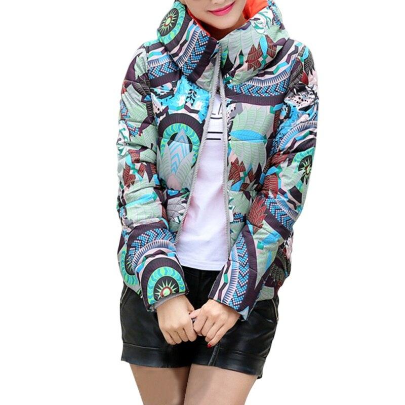 Women Winter Clothing Fashion Printed Wadded Jacket Hooded Long Sleeve Keep Warm Cotton Female Coat
