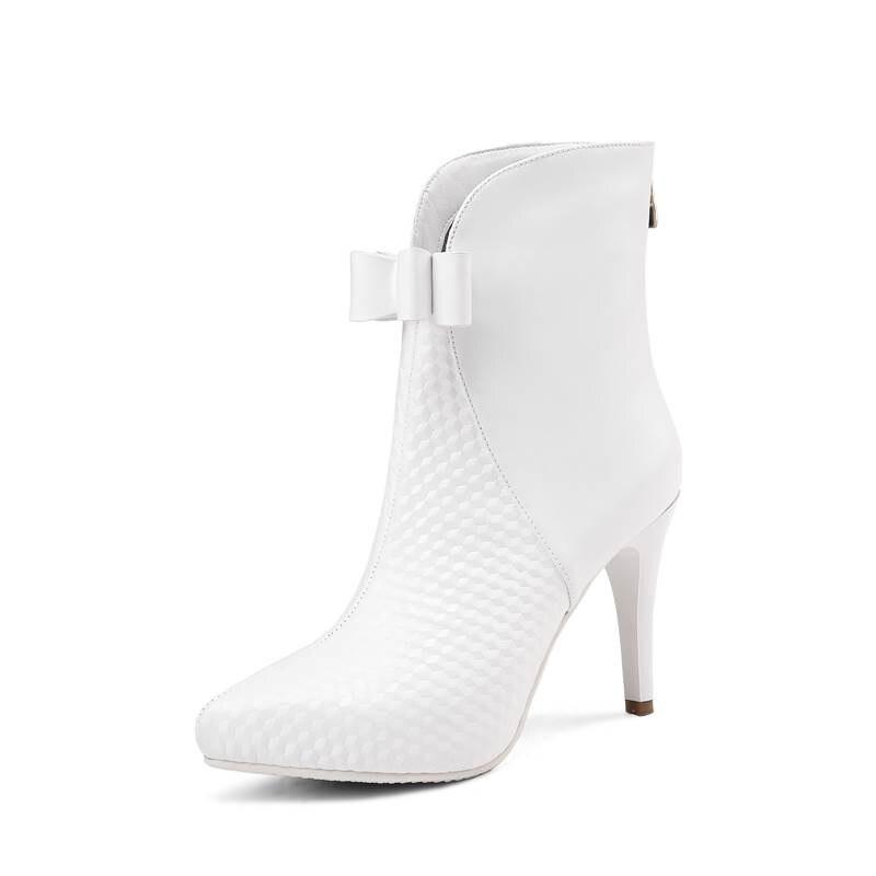 Smirnova white 2018 D'hiver Talon Bowknot Cuir Haut Nouvelle Arrivée Femmes Noir De Mode Cheville Coudre Pour Véritable Stiletto Zip Bottes rrHxnTw