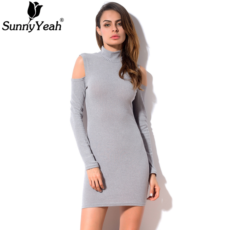 SunnyYeah Knitted Dress Women Spring Off Shoulder Sexy Club Sweater Dress Ladies Long Sleeve Slim Casual Bodycon Dress Vestidos sweet off the shoulder long sleeve bodycon sweater dress for women
