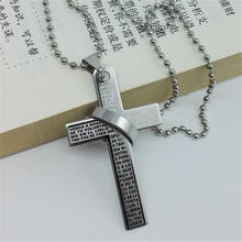 RONGQING 1Pcs Titanium Steel Cross Necklace Men Collares Statement Necklace Gift for Men Black free shipping 2018 new date men r