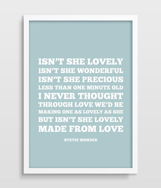 Superior Stevie Wonder Lyrics Isnu0027t She Lovely Lullaby Print Living Room Home Decor  Gift For Girls Kids Bedroom Poster Nursery Print Art