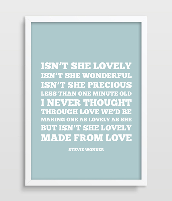 Stevie Wonder Lyrics Isnt She Lovely Lullaby Print Living Room Home Decor Gift For