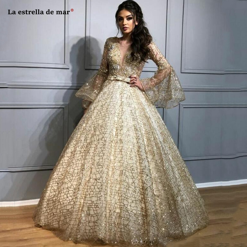 Luxury Ball Gown Evening   Dresses   V Neck Puffy Long Sleeves Sequined   Prom     Dress   Dubai Bling Crystal Party Pageant Gowns Plus