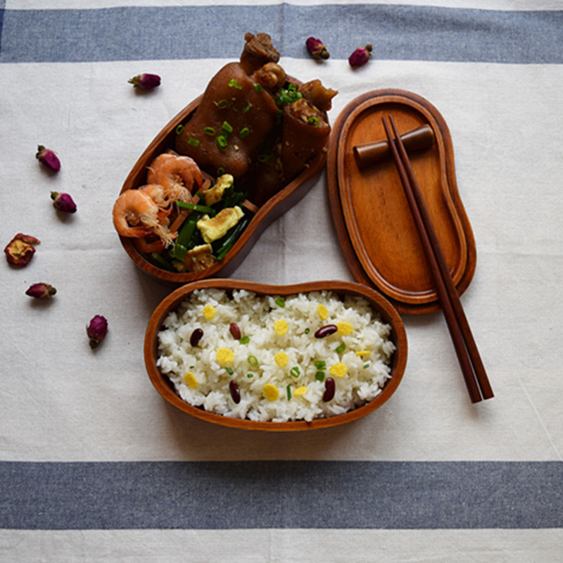 2 Layer Waist Shape <font><b>Wood</b></font> <font><b>Lunch</b></font> <font><b>Box</b></font> Japanese Sushi Bento LunchBox Portable Food Container Fruits Storage Tableware Dinnerware Set image
