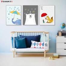 Animales de dibujos animados con paraguas estampados pósters cuadro lienzo elefante en la pared disfrutar del día de la vida citas niños dormitorio Decoración