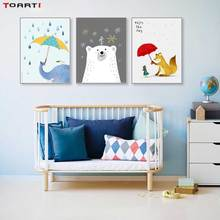 Animali dei cartoni animati Con Ombrello Stampe Poster Elefante della Tela di Canapa Pittura Sul Muro Godersi La Giornata La Vita Cita Bambini Arredamento Camera Da Letto