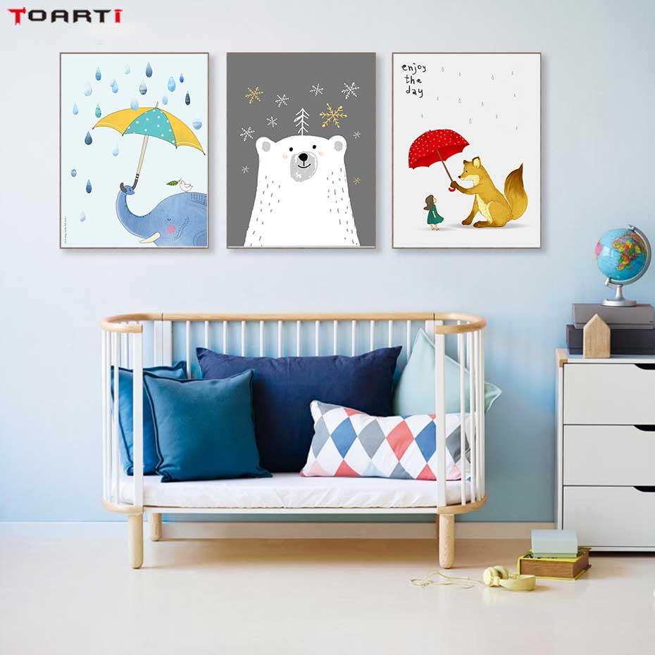 Cartoon Animals With Umbrella Prints Posters Elephant Canvas Painting On The Wall Enjoy The Day Life Quotes Kids Bedroom Decor-in Painting & Calligraphy from Home & Garden