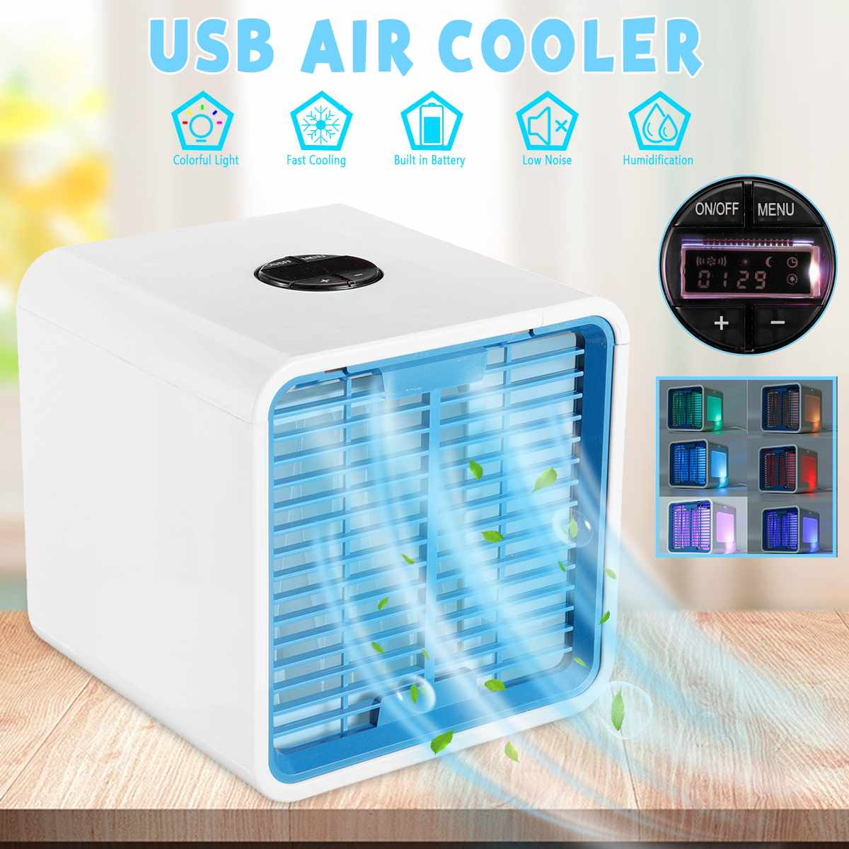 Mini Portable Air Conditioner Cooler Cool Cooling Fan Purify Humidifier 6 Colors LED Lights for Office Home Room USB Charging