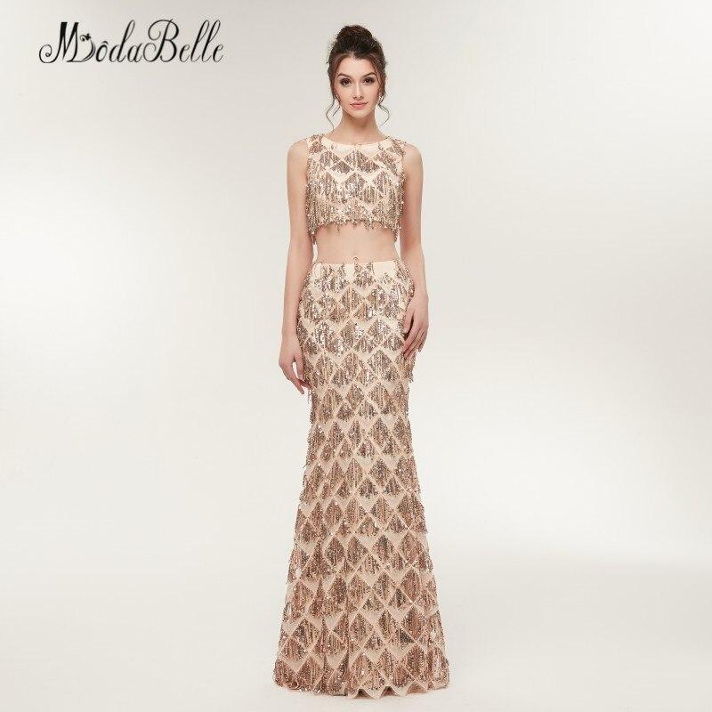 Modabelle sirène deux pièces Sequin robes de bal Champagne or Vestido Festa Longo longueur de plancher femmes robe de soirée brillant - 2