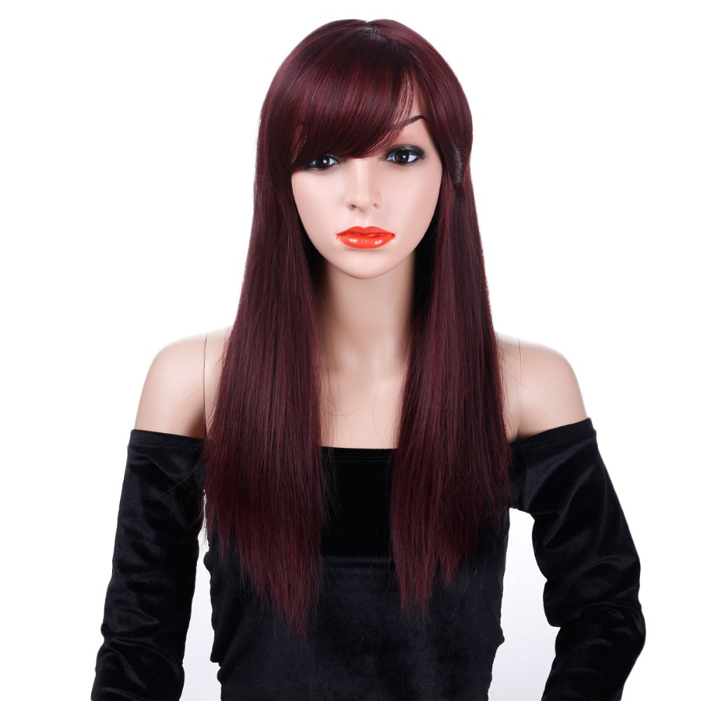 AOSIWIG Long Red Straight Wigs With Bangs Synthetic Hair Wig For Women High Temperature Black Color
