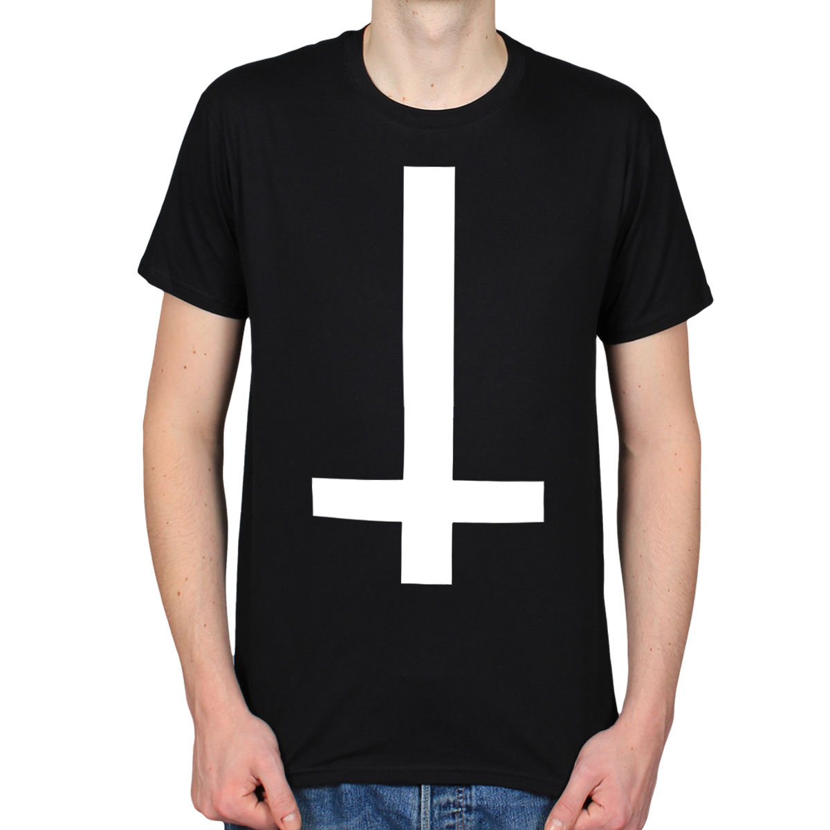 Gótica Cruz HombreNegra De Alta Metal Para Camiseta Calidad 666 Satan Con Invertida fbY7gy6
