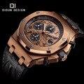 DIDUN Men watches brand luxury watches  Men Sport Quartz Watch Full Steel military Wristwatch Chronograph Leather stopwatch
