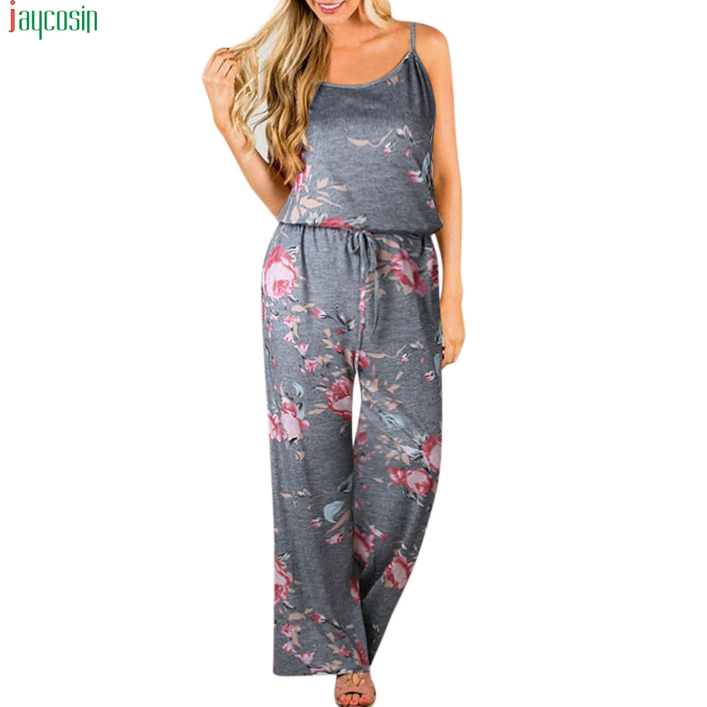 JAYCOSIN Boho Jumpsuit Women Ladies Printing Playsuit Sleeveless Long Playsuits Rompers Jumpsuit for women Playsuit Ladies Pants