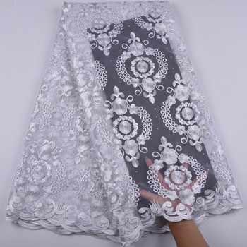 African Lace Fabric 2018 New Design Nigerian French Lace With Stones High Quality Tulle Lace Fabric A1374