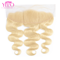 YELO Hair 613 Blonde Pure 13x4 Ear To Ear Lace Frontal Brazilian Remy Hair Body Wave 8 20 Inch Free Part Lace Frontal Closure
