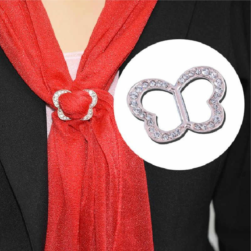 Korean Fashion Simple Women's Butterfly Rhinestone Scarf Buckle brooch Clip Heart Shape Shawl Buckle New Charming Gift Jewelry